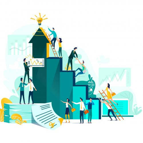 Goal achievement and teamwork business concept, career growth and cooperation for development of project, idea vector flat cartoon illustration. Ladder of success and climbing people, company staff